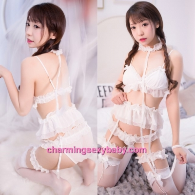 Sexy Lingerie White Collar + Bra + Garter Belt + Panties Sleepwear Costume MH7006