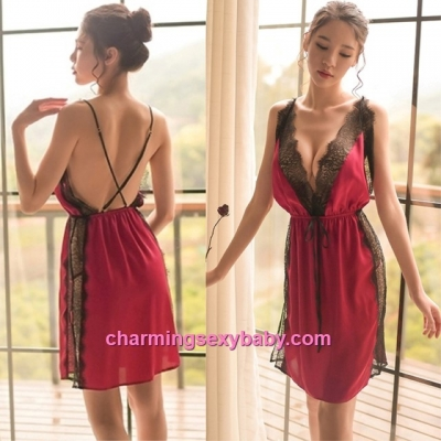 Sexy Lingerie Burgundy Satin Lace Low-Cut Dress + G-String Sleepwear Pyjamas BH1098