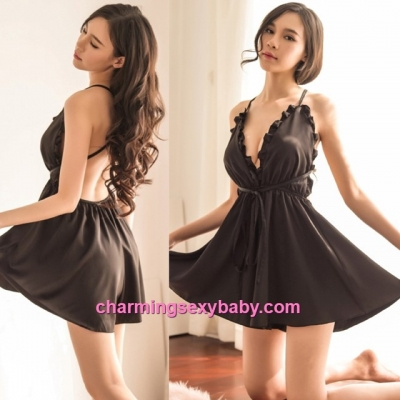 Sexy Lingerie Black Satin Low-Cut Dress + G-String Sleepwear Baju Tidur BH1099