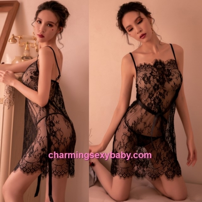 Sexy Lingerie Black Lace Babydoll Dress + G-String Sleepwear Pyjamas BH7290
