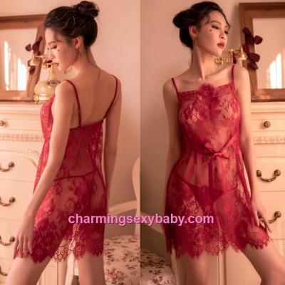 Sexy Lingerie Burgundy Lace Babydoll Dress + G-String Sleepwear Nightwear BH7290