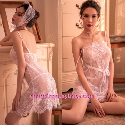 Sexy Lingerie White Lace Babydoll Dress + G-String Sleepwear Pajamas BH7290