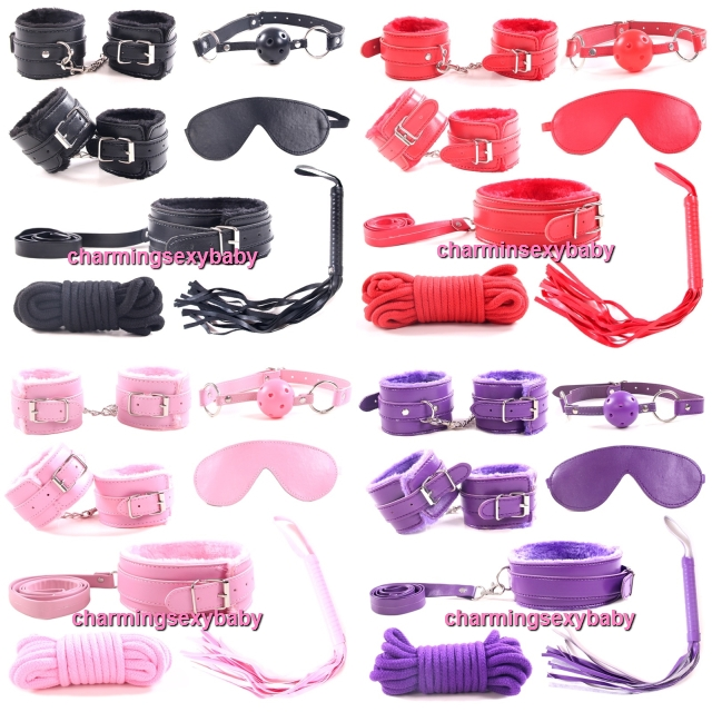 7pcs PU Leather SM Bondage Set Restraint Sex Toys Adult Games (4 Colors) SMSET-1