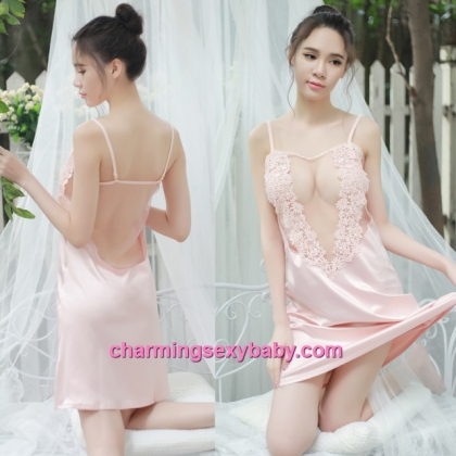 Sexy Lingerie Pink See-Through Babydoll Dress + G-String Sleepwear BH1088