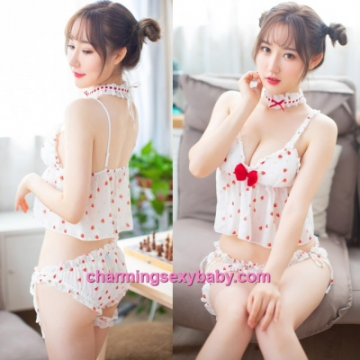 Sexy Lingerie White Collar + Top + Panties + Leg Band Sleepwear Baju Tidur MH7012