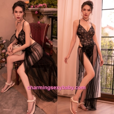 Sexy Lingerie Black Lace Teddies + Long Skirt Women Sleepwear BH7295