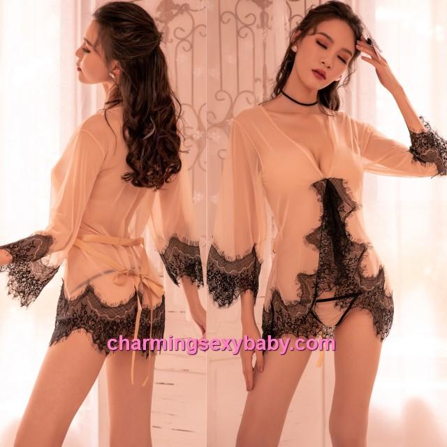 Sexy Lingerie Lace Beige Transparent Robes + G-String Sleepwear Nightwear BH7297