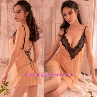 Sexy Lingerie Beige Transprent Low-Cut Babydoll Dress + G-String Sleepwear BH7302