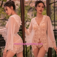 Sexy Lingerie White Lace Transparent Robes with Hat + G-String Sleepwear BH7303