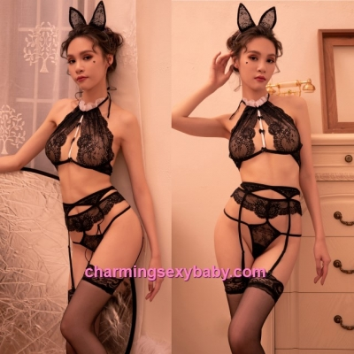 Sexy Lingerie Black Lace Bra + Garter Belt + Hair Band Sleepwear Nightwear BH7312