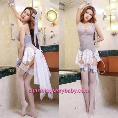 Grey Sexy Fishnet Body Stocking Dress Hosiery Lingerie Costume Nightwear WWL6050