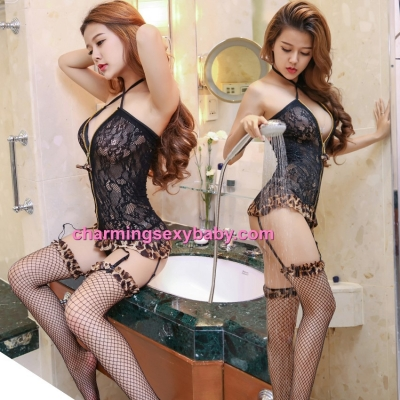 Sexy Lingerie Leopard Print Corset + Garter Belt + Stockings Costume Sleepwear WWL6054