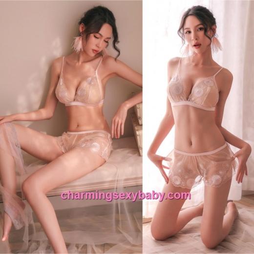 Sexy Lingerie Pink Lace Bra + Short Women Sleepwear Nightwear BH1111