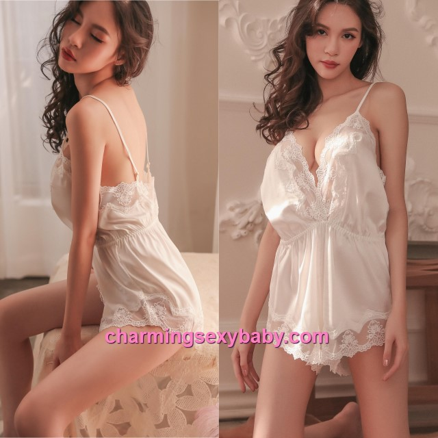 Sexy Lingerie White Lace Satin Teddies Sleepwear Nightwear Pyjamas BH7316