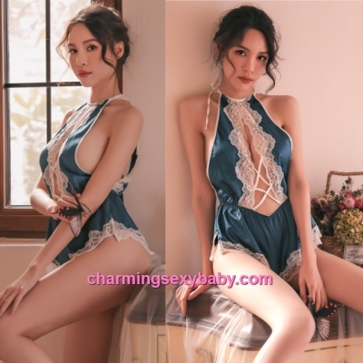 Sexy Lingerie Lace Blue Satin Teddies Sleepwear Nightwear Pyjamas BH7325