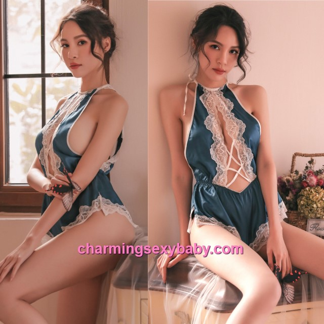 Sexy Lingerie Lace Blue Satin Teddies Sleepwear Nightwear Pyjamas BH7325