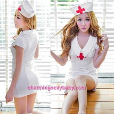 Sexy Lingerie White Nurse Uniform Dress Cosplay Costume Sleepwear MH6185