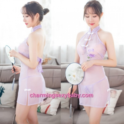 Sexy Lingerie Light Purple See-Through Cheongsam Dress Costume Sleepwear MH7016
