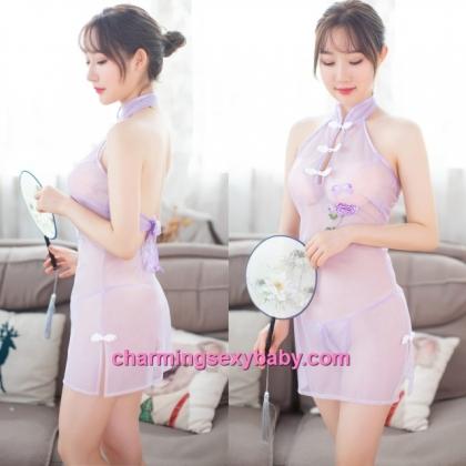 Sexy Lingerie Light Purple See-Through Cheongsam Dress Costume Sleepwear MH7016
