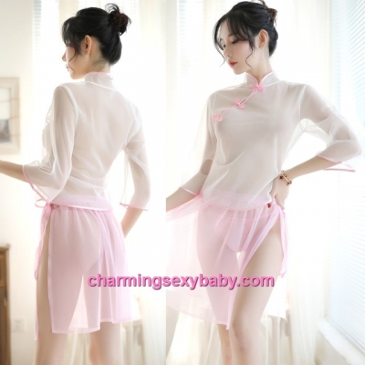 Sexy Lingerie See-Through Cheongsam White Top + Pink Skirt Sleepwear Pyjamas MH7019