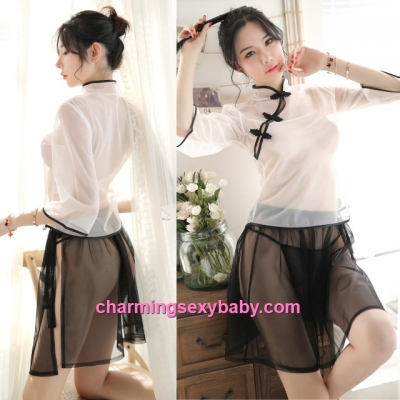 Sexy Lingerie See-Through Cheongsam White Top + Black Skirt Sleepwear MH7019
