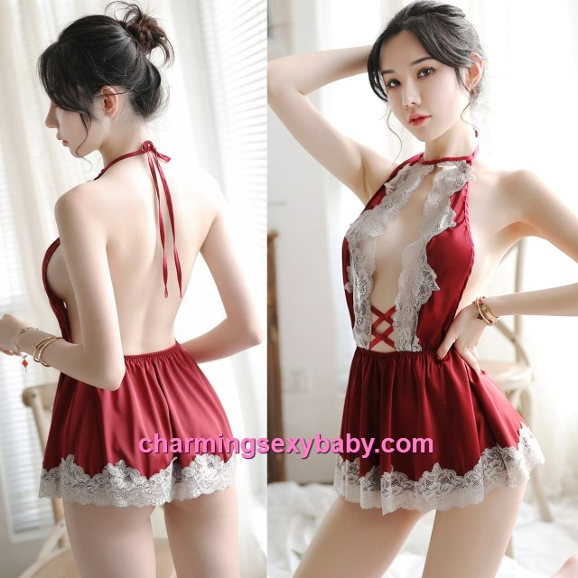 Sexy Lingerie Lace Red Satin Dress + G-String Sleepwear Pyjamas MH7031