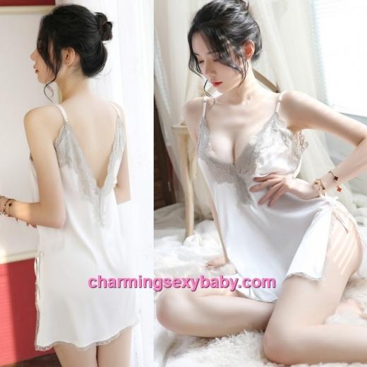 Sexy Lingerie Lace Deep V White Satin Dress + G-String Sleepwear Baju Tidur MH7055