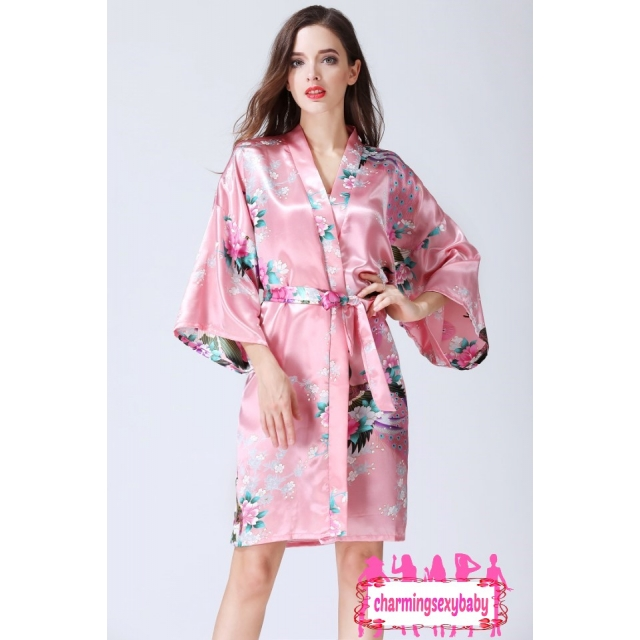 Sexy Lingerie Coral Powder Japanese Kimono Robes Sleepwear Nightwear Pyjamas KQA-1