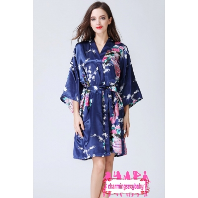Sexy Lingerie Dark Blue Japanese Kimono Robes Sleepwear Nightwear Pyjamas KQA-1