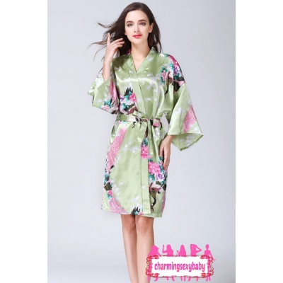 Sexy Lingerie Green Japanese Kimono Robes Sleepwear Nightwear Pyjamas KQA-1