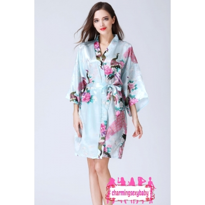 Sexy Lingerie Light Blue Japanese Kimono Robes Sleepwear Nightwear Pyjamas KQA-1