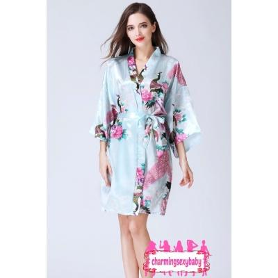 Sexy Lingerie Light Blue Japanese Kimono Robes Sleepwear Nightwear Pyjamas KQA-1