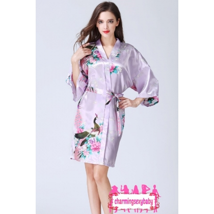 Sexy Lingerie Light Purple Japanese Kimono Robes Sleepwear Nightwear Pyjamas KQA-1