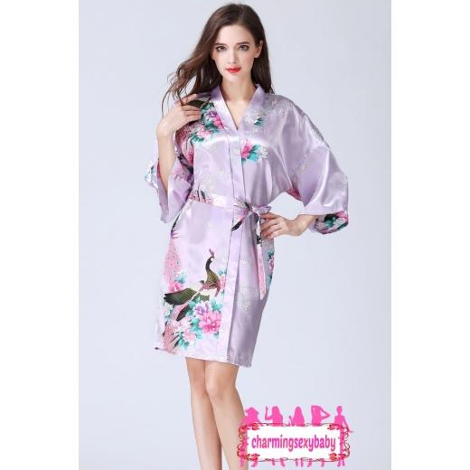 Sexy Lingerie Light Purple Japanese Kimono Robes Sleepwear Nightwear Pyjamas KQA-1