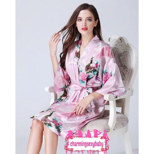Sexy Lingerie Pink Japanese Kimono Robes Sleepwear Nightwear Pyjamas KQA-1