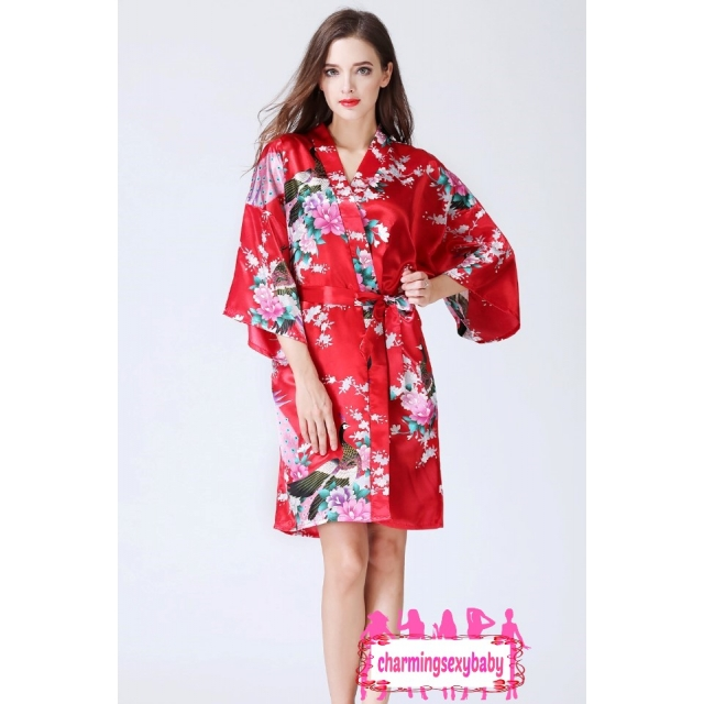 Sexy Lingerie Red Japanese Kimono Robes Sleepwear Nightwear Pyjamas KQA-1