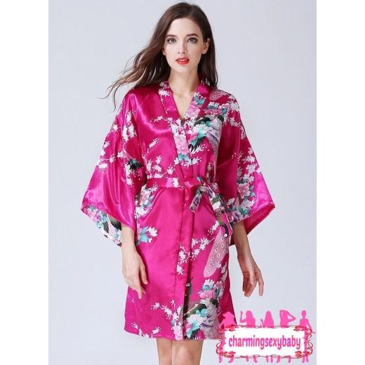 Sexy Lingerie Rose Red Japanese Kimono Robes Sleepwear Nightwear Pyjamas KQA-1