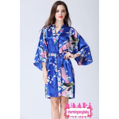 Sexy Lingerie Royal Blue Japanese Kimono Robes Sleepwear Nightwear Pyjamas KQA-1