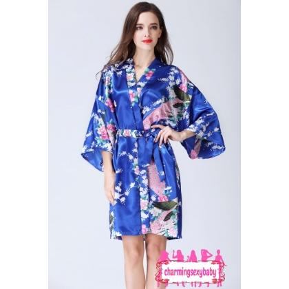 Sexy Lingerie Royal Blue Japanese Kimono Robes Sleepwear Nightwear Pyjamas KQA-1