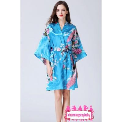 Sexy Lingerie Sky Blue Japanese Kimono Robes Sleepwear Nightwear Pyjamas KQA-1