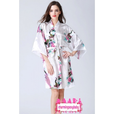 Sexy Lingerie White Japanese Kimono Robes Sleepwear Nightwear Pyjamas KQA-1