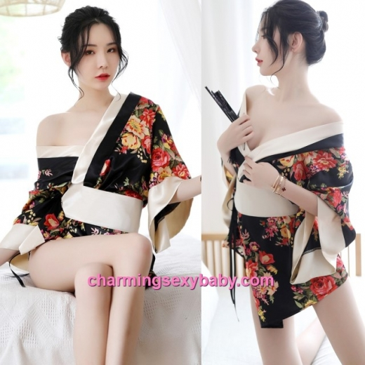 Sexy Lingerie Black+ Colorful Japanese Kimono Robes + G-String Costume Sleepwear MH7056