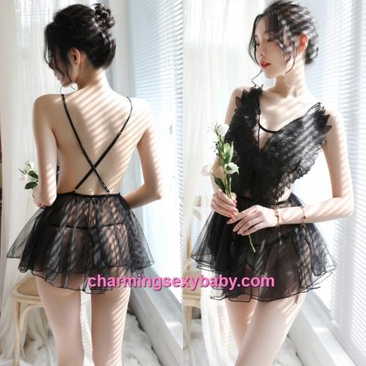 Sexy Lingerie Black Wings Backless Babydoll Dress + G-String Sleepwear Nightwear MH7057