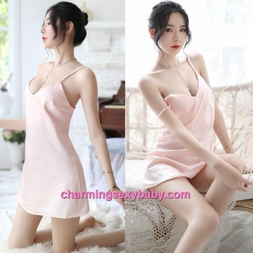 Sexy Lingerie Light Apricot Sling Satin Low-Cut Dress + G-String Sleepwear Nightwear MH7058
