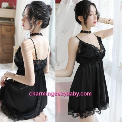Sexy Lingerie Black Lace Satin Dress + G-String Sleepwear Baju Tidur MH7059