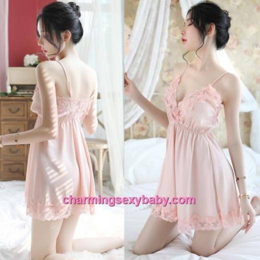 Sexy Lingerie Pink Lace Satin Dress + G-String Sleepwear Nightwear MH7059