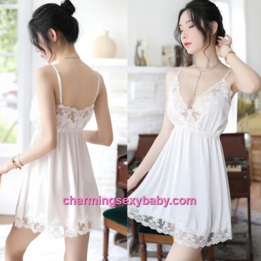 Sexy Lingerie White Lace Satin Dress + G-String Sleepwear Nightwear MH7059