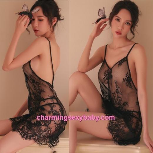 Sexy Lingerie Black Lace Backless Babydoll Dress + G-String Sleepwear Pyjamas BH1103