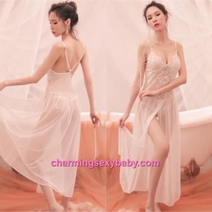 Sexy Lingerie White Lace See-Through Long Dress + G-String Sleepwear Nightwear BH7326