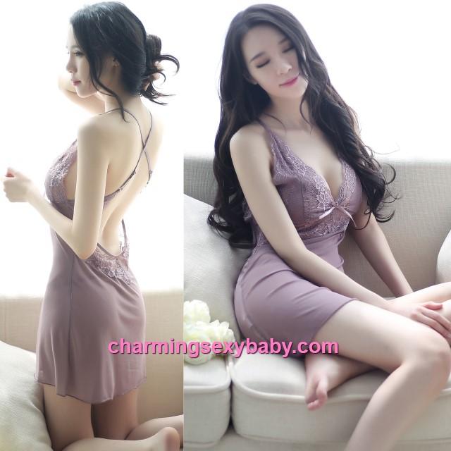 Sexy Lingerie Grey Lace Deep V Babydoll Dress + G-String Nightwear Sleepwear BH8045
